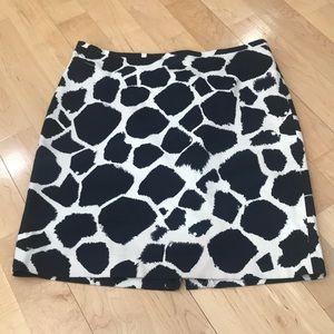LOFT cream and black skirt